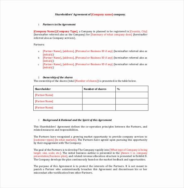 Shareholder Letter Template Best Of 18 Holder Agreement Templates Free Word Pdf