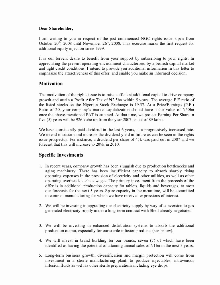 Shareholder Letter Template Lovely Letter to Holders