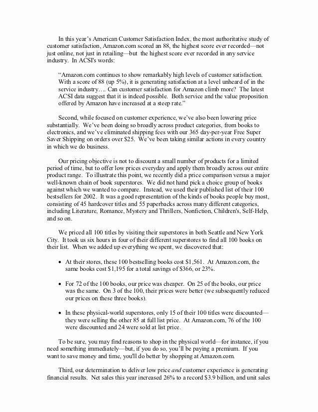 Shareholder Letter Template Unique Amazon Shareholder Letters 1997 2011