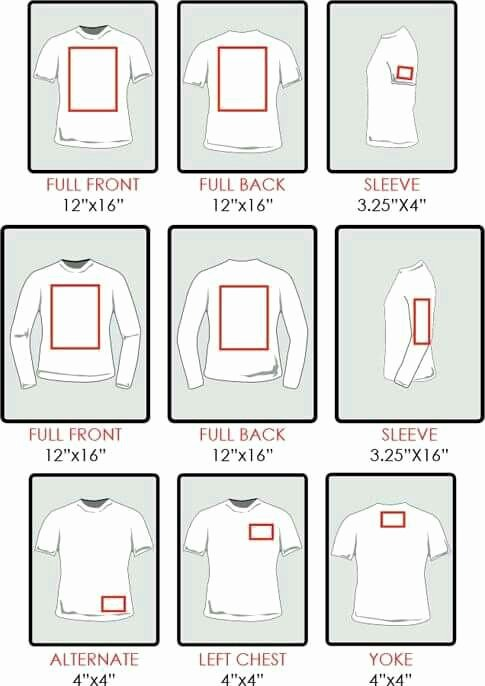 Shirt Decal Placement Luxury Chart Re Sizing Of Decals for Shirts Silhouette
