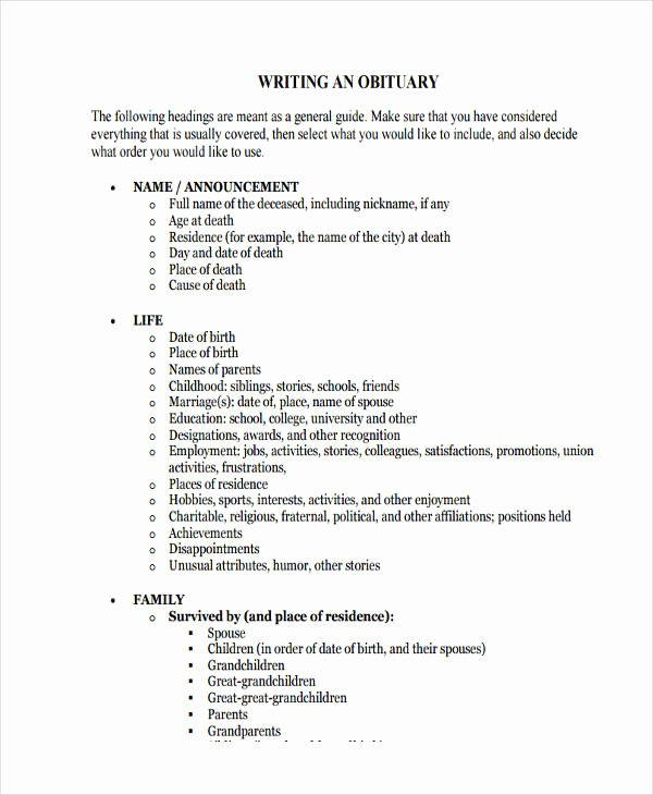 Short Obituary Examples Awesome 5 Obituary Writing Examples Samples