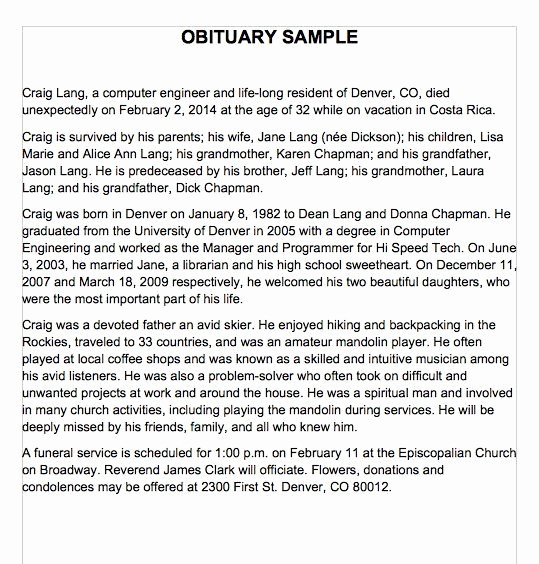 Short Obituary Examples Beautiful 25 Obituary Templates and Samples Template Lab