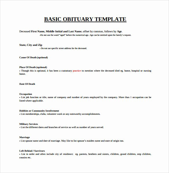 Short Obituary Examples Beautiful Sample Obituary Template 11 Documents In Pdf Word Psd