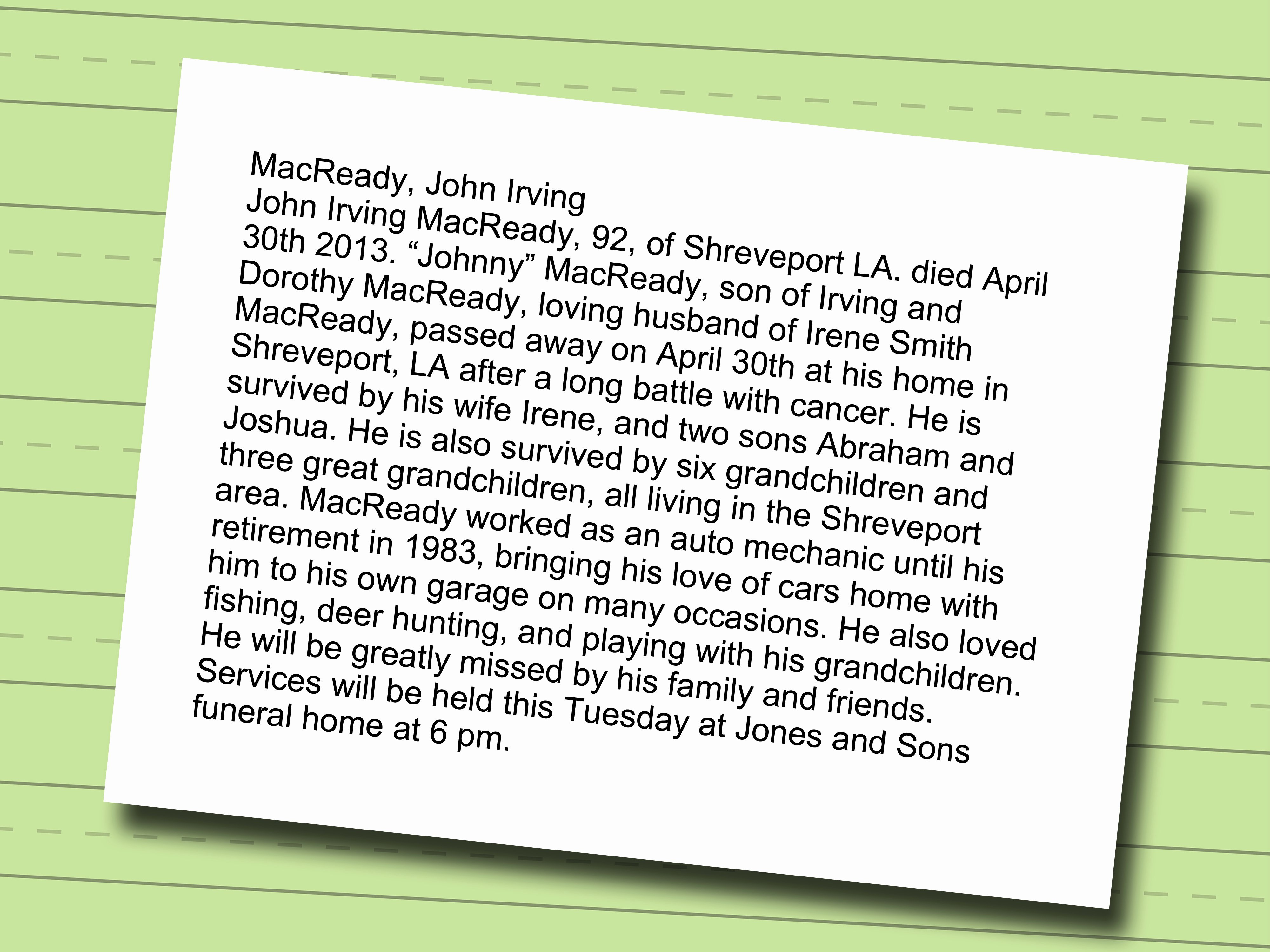 Short Obituary Examples Elegant How to Write A Funeral Program Obituary with