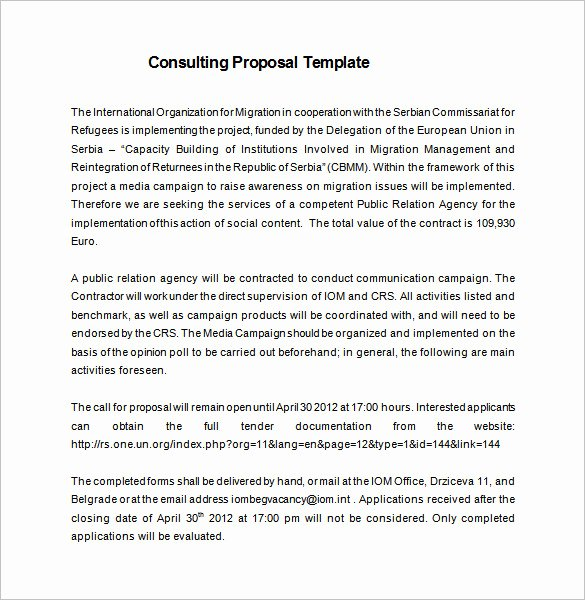 Short Proposal Example Best Of Consulting Proposal Template 20 Free Word Pdf format