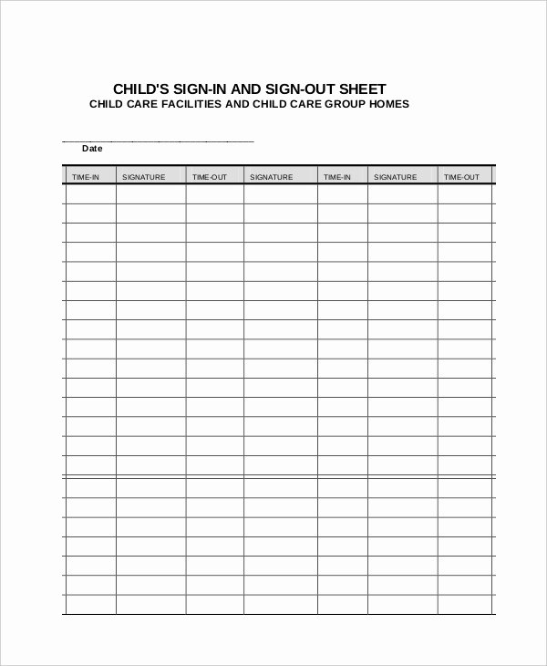 Sign In and Out Sheet for Daycare Best Of Sign In Sheet 30 Free Word Excel Pdf Documents