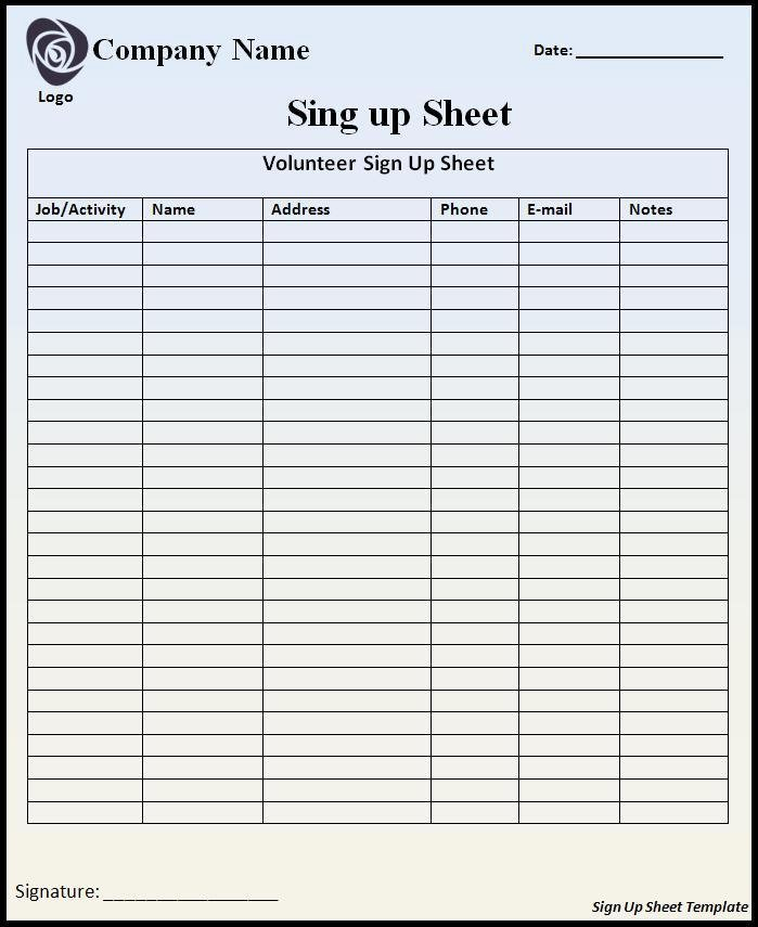 Sign Up Sheet Template Name Email Phone Number Beautiful Signup Sheet Template