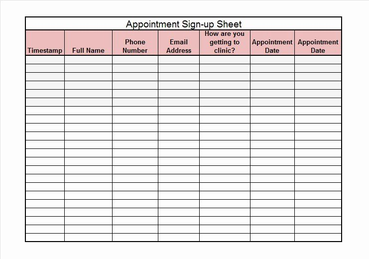 Sign Up Sheet Template Name Email Phone Number Best Of 40 Sign Up Sheet Sign In Sheet Templates Word & Excel