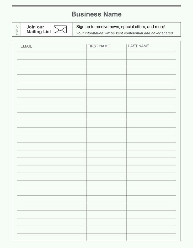 Sign Up Sheet Template Name Email Phone Number Elegant Pin by Constant Contact On Grow Your Email List