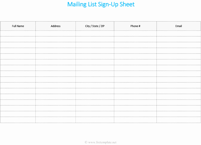 Sign Up Sheet Template Name Email Phone Number Fresh Mailing List Template