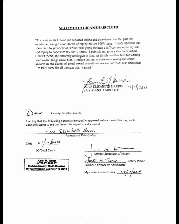 Signed Statement Example Beautiful Conor Oberst's Name Cleared Rape Accuser Admits She Lied