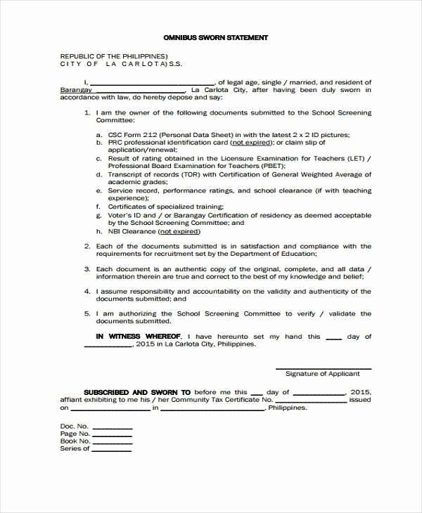 Signed Statement Example Fresh Sample Sworn Affidavit Sworn Affidavit form Sample