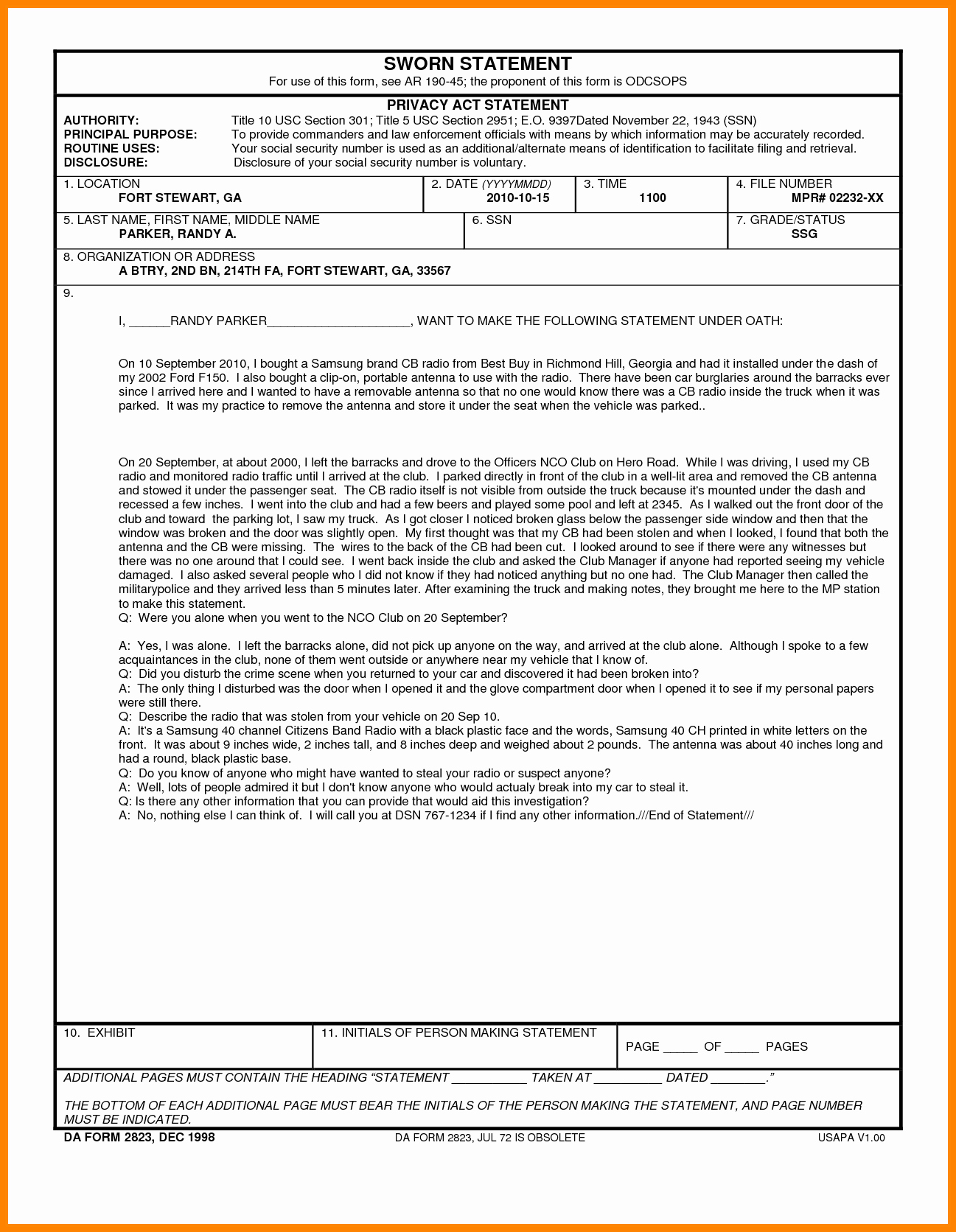 Signed Statement Example Luxury 8 Us Army Sworn Statement Example