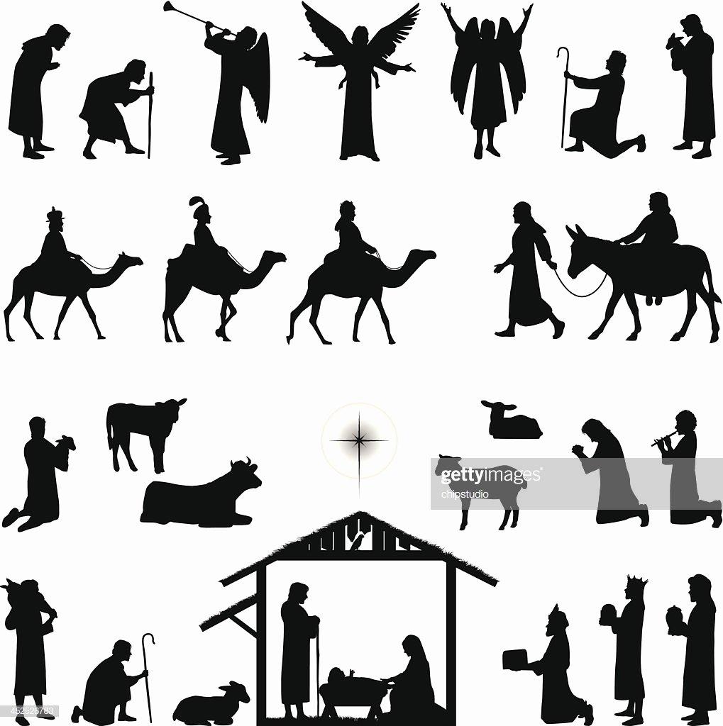 Silhouette Nativity Scene Pattern Awesome Nativity Vector Art