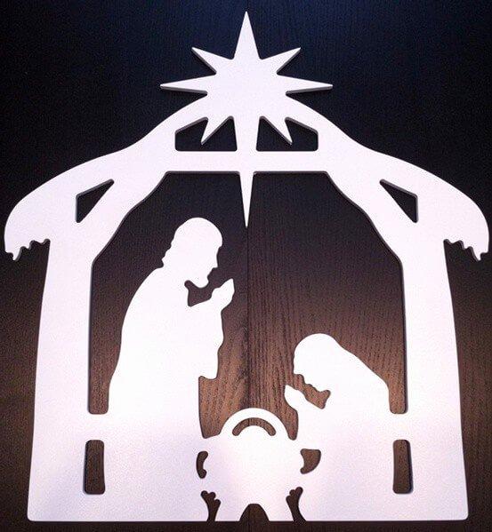 Silhouette Nativity Scene Pattern Elegant Nativity Scene Window Wall Decoration