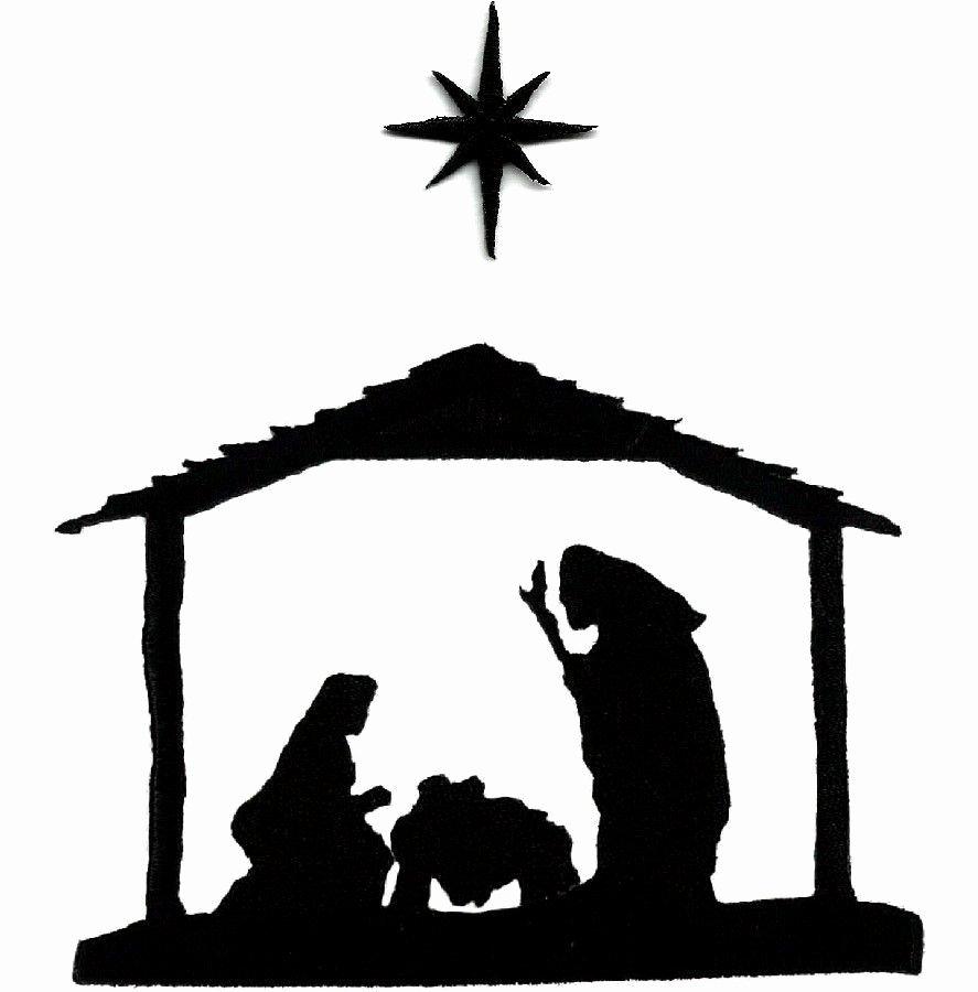 Silhouette Nativity Scene Pattern Unique Nativity Christmas Black Silhouette Embroidered Iron