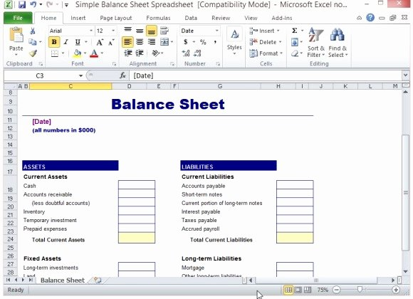 Simple Balance Sheet Template Excel Fresh Simple Balance Sheet Template for Excel