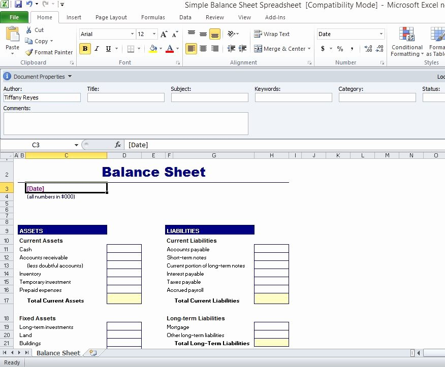 Simple Balance Sheet Template Excel Lovely Simple Balance Sheet Template for Excel