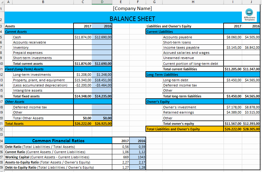 Simple Balance Sheet Template Excel Luxury Free Basic Excel Balance Sheet