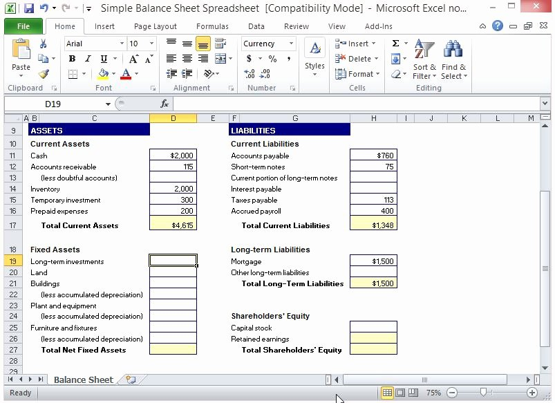 Simple Balance Sheet Template Excel New Simple Balance Sheet Spreadsheet for Excel 3 Fppt