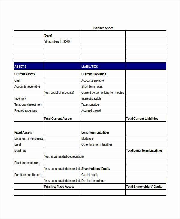 Simple Balance Sheet Template Excel Unique Simple Balance Sheet 20 Free Word Excel Pdf Documents