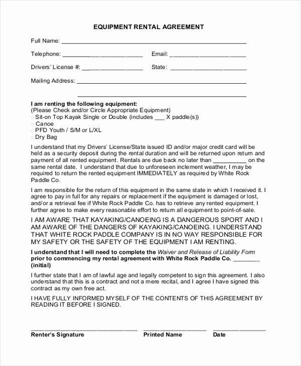 Simple Equipment Rental Agreement Template Free Best Of Simple Rental Agreement form 12 Free Documents In Pdf