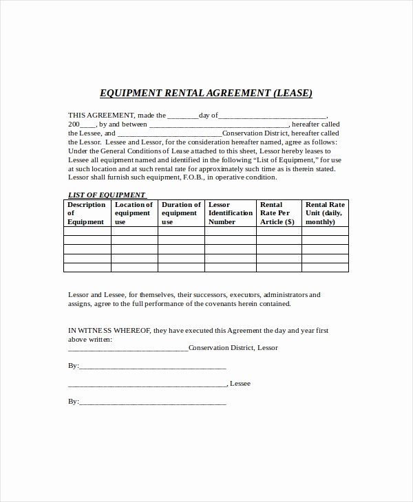 Simple Equipment Rental Agreement Template Free Elegant Equipment Lease Template 10 Free Word Pdf Google
