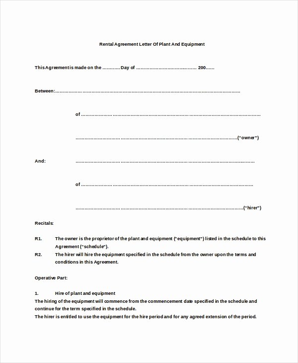Simple Equipment Rental Agreement Template Free Fresh 10 Rental Agreement Letter Doc Pdf