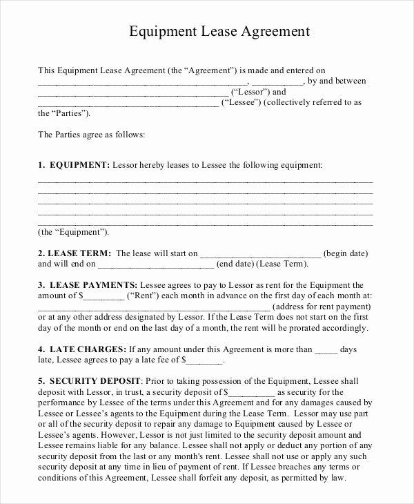 Simple Equipment Rental Agreement Template Free Fresh 11 Equipment Rental Agreement Doc Pdf