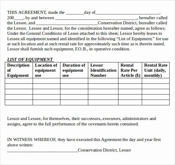 Simple Equipment Rental Agreement Template Free Fresh 12 Equipment Lease Agreement – Samples Examples & format