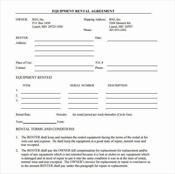Simple Equipment Rental Agreement Template Free Lovely Sample Equipment Rental Agreement Template 15 Free