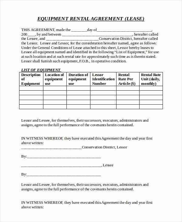 Simple Equipment Rental Agreement Template Free Luxury 20 Equipment Rental Agreement Templates Doc Pdf