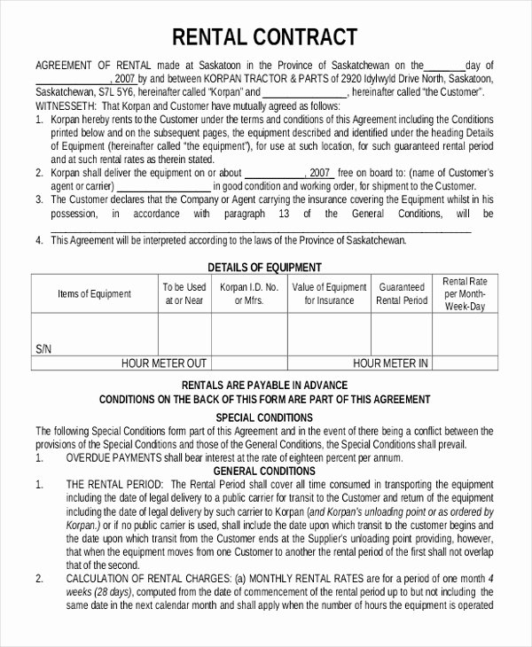 Simple Equipment Rental Agreement Template Free Unique 15 Rental Contract Templates Pdf Docs Word