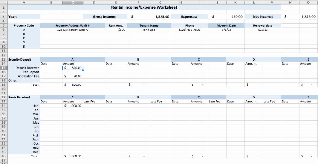 Simple Income and Expense Template Luxury Rental In E and Expense Worksheet Plan B