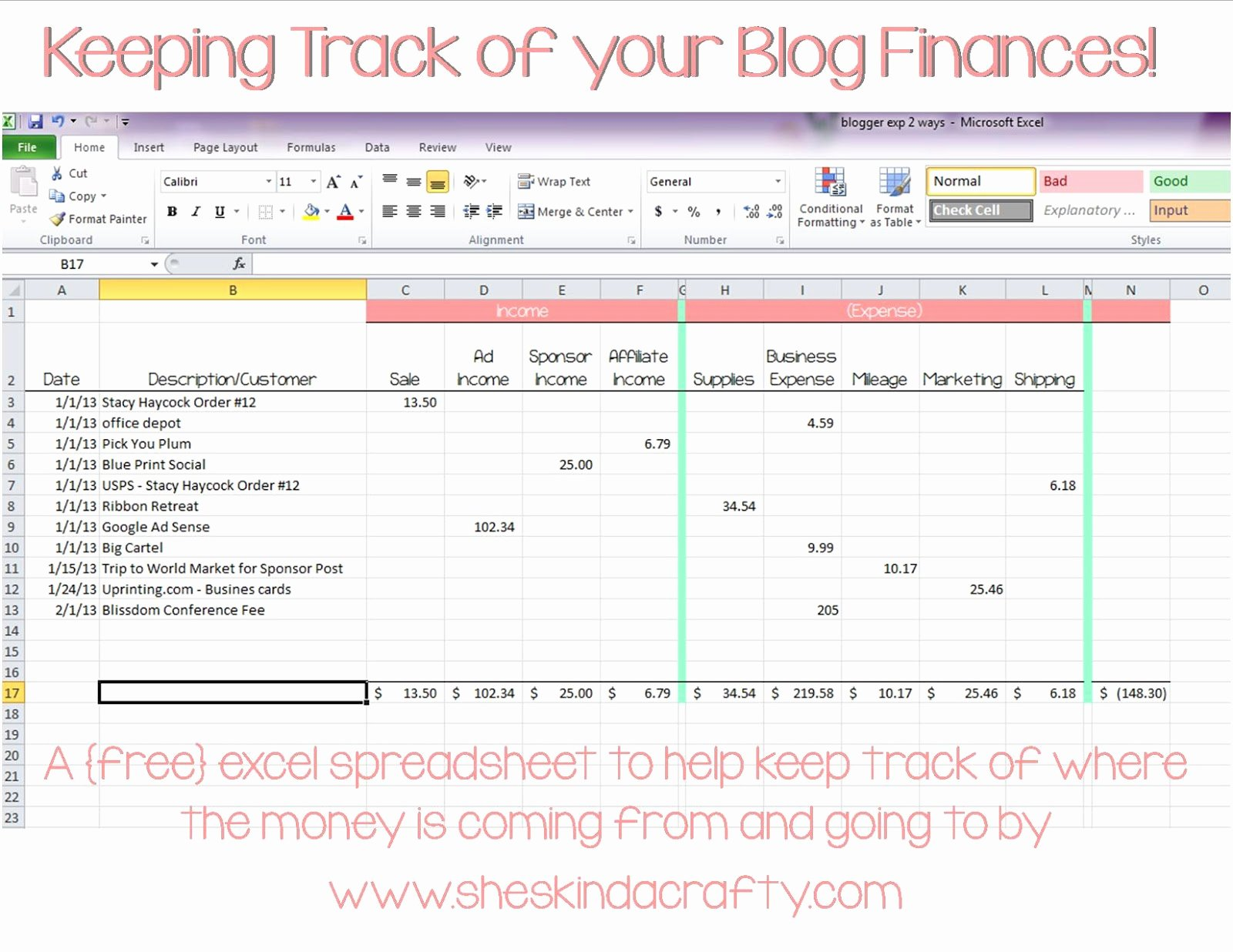 Simple Income and Expense Template New Keep On Track