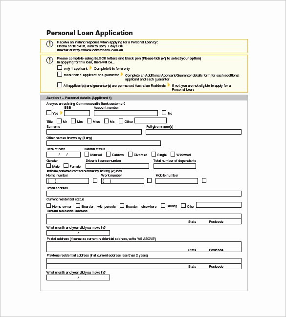Simple Loan Application form Template Luxury 8 Note Template for Personal Loan Templates – Free Sample