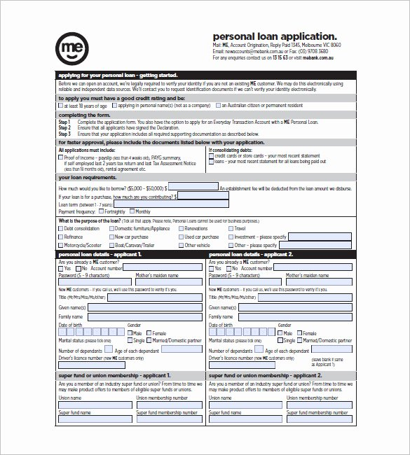 Simple Loan Application form Template Unique 8 Note Template for Personal Loan Templates – Free Sample