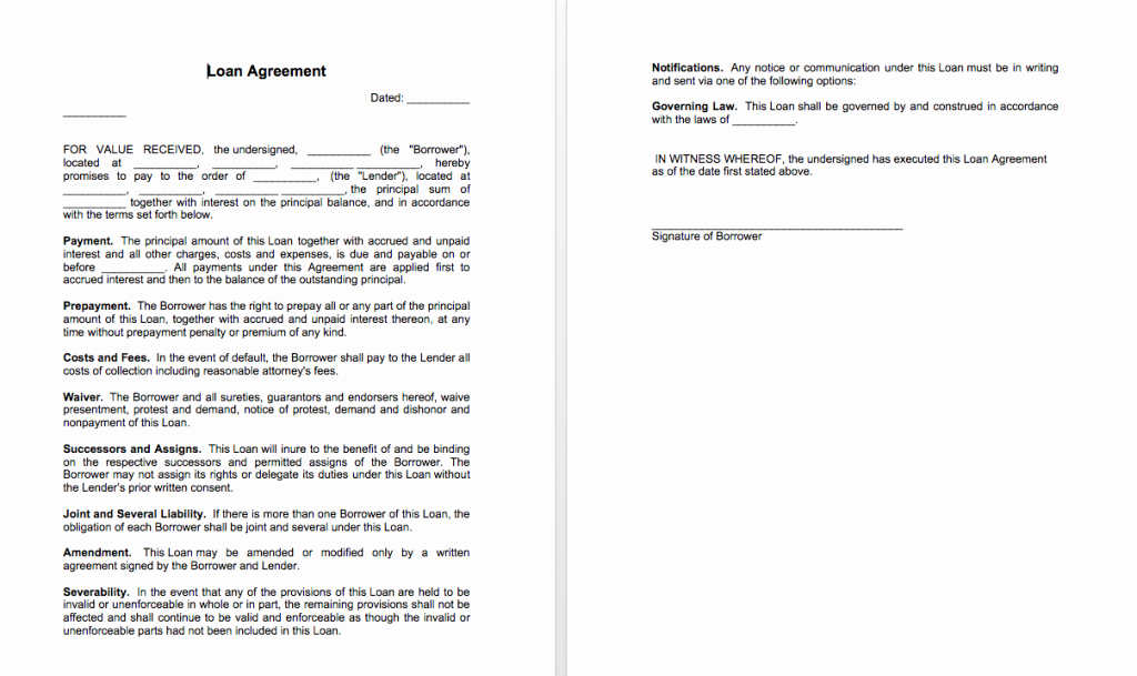 Simple Payment Agreement Template Between Two Parties Inspirational Sample Of Loan Agreement Between Two Parties