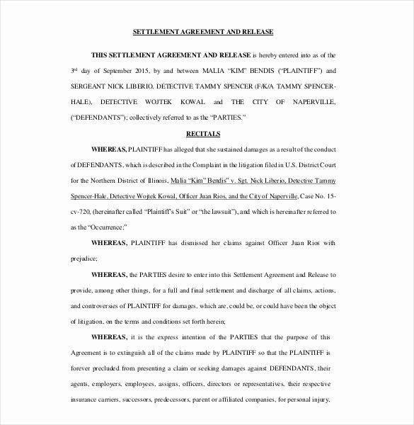 Simple Settlement Agreement Awesome 12 Settlement Agreement Templates – Free Sample Example