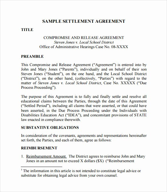 Simple Settlement Agreement Beautiful Sample Settlement Agreement 15 Documents In Pdf Word