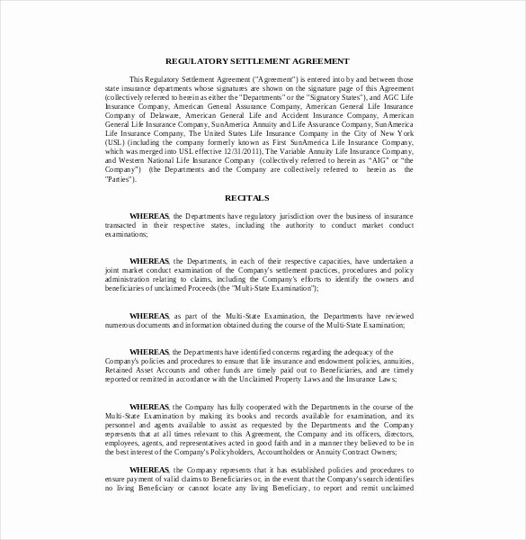 Simple Settlement Agreement Best Of 12 Settlement Agreement Templates – Free Sample Example