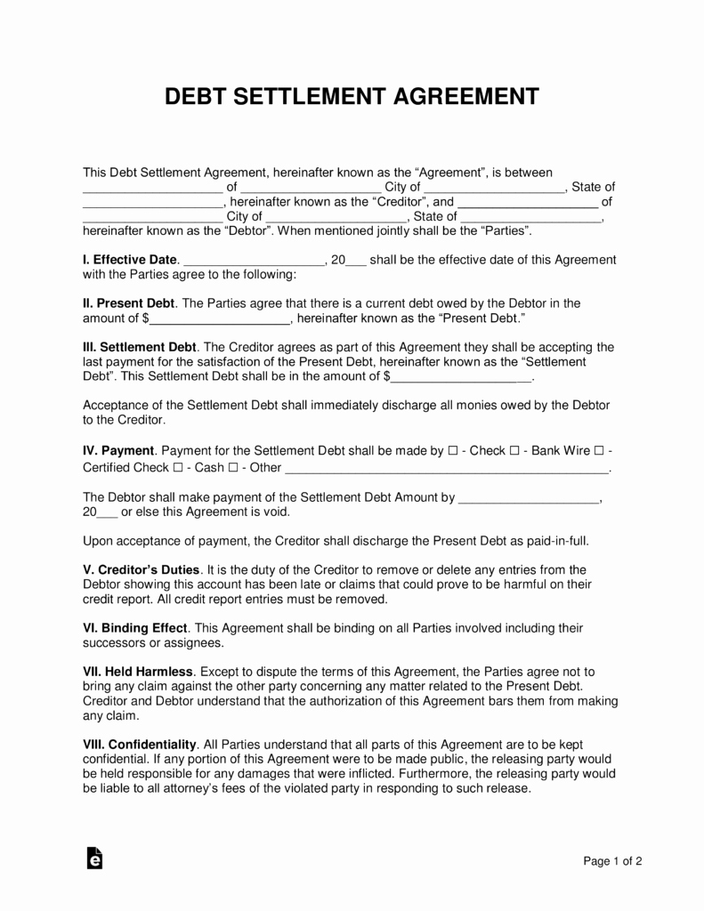Simple Settlement Agreement Elegant Free Debt Settlement Agreement Template Sample Word