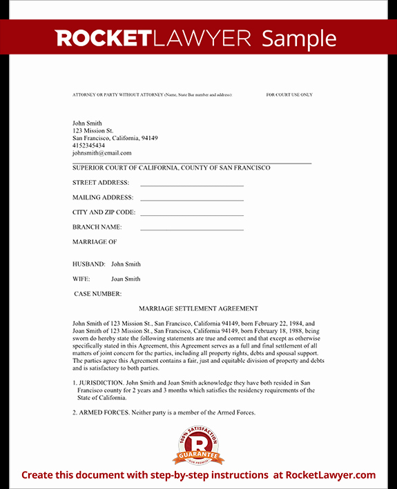Simple Settlement Agreement Inspirational Divorce Settlement Agreement Template with Sample