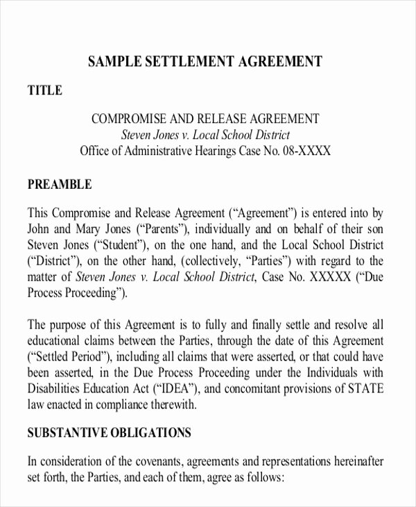 Simple Settlement Agreement Lovely 11 Settlement Agreement Samples Word Pdf