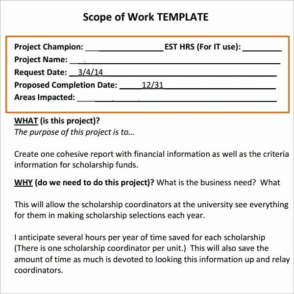 Simple Statement Of Work Template Elegant 7 Construction Scope Of Work Templates Word Excel Pdf