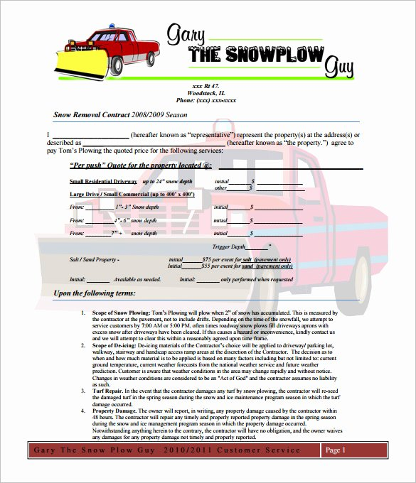 Snow Removal Bid Template Elegant 20 Snow Plowing Contract Templates Google Docs Pdf