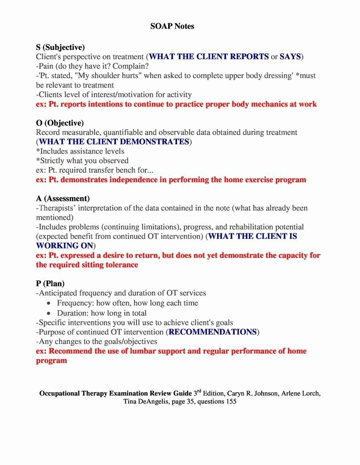 Soap Documentation Example Awesome soap Notes Occupational therapy Examination Review Guide