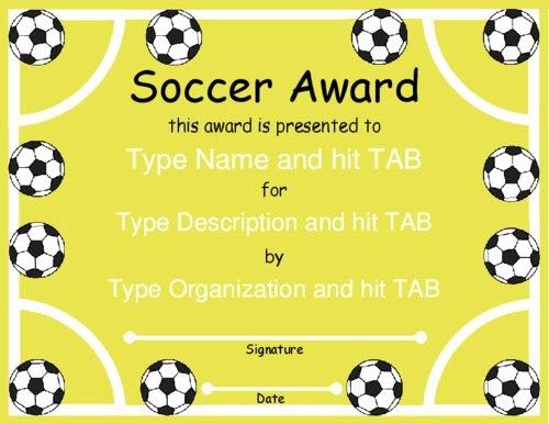 Soccer Awards Template Beautiful Award Certificate Templates