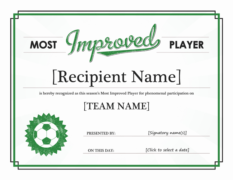 Soccer Awards Template Inspirational Most Improved Player Certificate Templates Fice