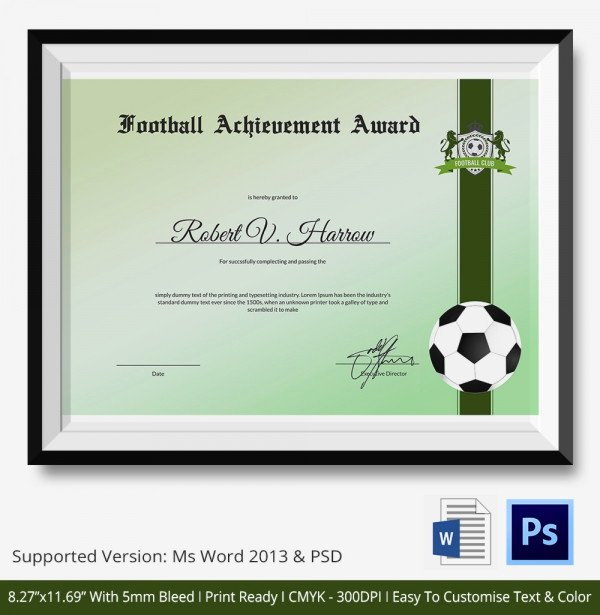Soccer Awards Template Lovely 10 Football Certificate Templates Free Word Pdf